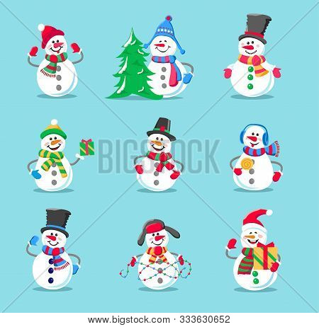 Set Of Winter Holidays Snowman. Cheerful Snowman In Different Costumes. Snowman With Candy And Gifts