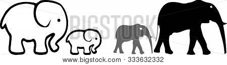 Elephant Icon On White Background  Tribal, Trunk, Tusk, Vector