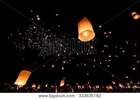 Floating Lanterns On Sky In Loy Krathong Festival