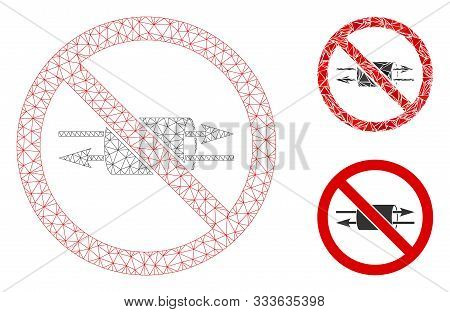 Mesh No Vpn Model With Triangle Mosaic Icon. Wire Carcass Polygonal Mesh Of No Vpn. Vector Compositi