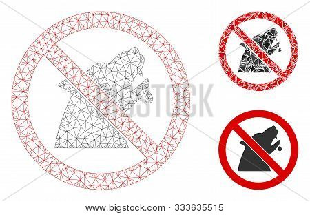 Mesh No Werewolf Model With Triangle Mosaic Icon. Wire Frame Polygonal Mesh Of No Werewolf. Vector M