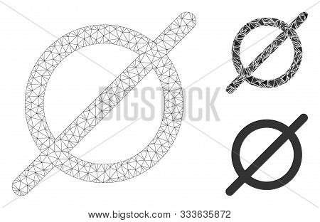 Mesh Nothing Model With Triangle Mosaic Icon. Wire Carcass Triangular Network Of Nothing. Vector Mos