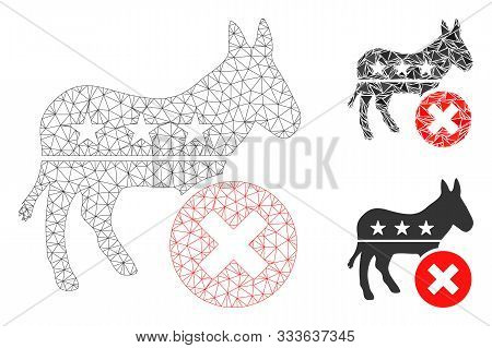 Mesh Reject Democrat Donkey Model With Triangle Mosaic Icon. Wire Carcass Triangular Network Of Reje
