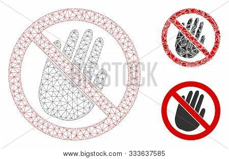 Mesh Restricted Hand Model With Triangle Mosaic Icon. Wire Frame Polygonal Mesh Of Restricted Hand.