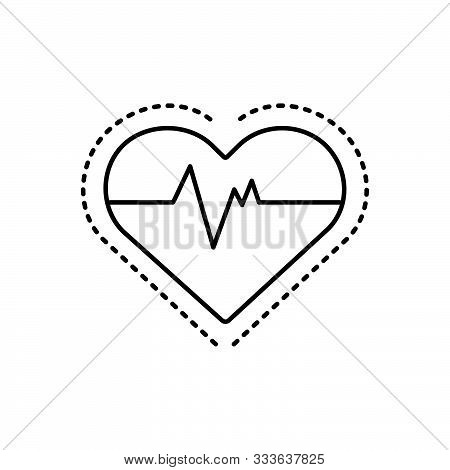 Black Line Icon For  Heart-rate Heart Rate Cardiac Pulse