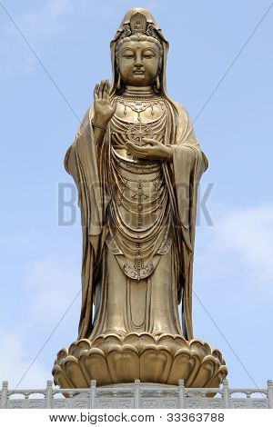 Statue of godness Guan Yin in the Putoshan island China poster
