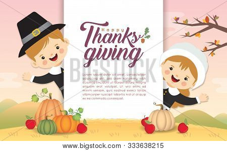 Thanksgiving Poster Template Or Copy Space. Cute Cartoon Pilgrim Boy & Girl With Pumpkins On Fall La