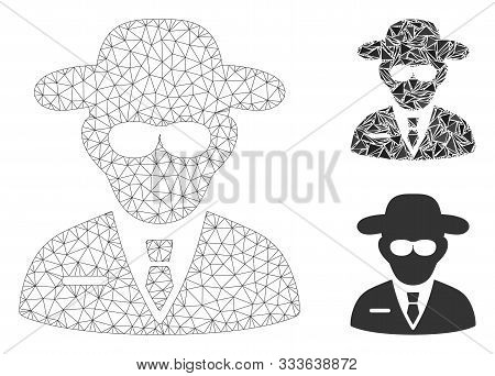 Mesh Secure Agent Model With Triangle Mosaic Icon. Wire Frame Polygonal Mesh Of Secure Agent. Vector