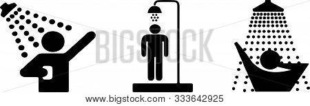 Shower Icon On White Background Wash, Washroom, Water, Wet