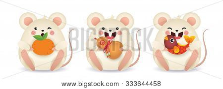 2020 Year Of The Rat Illustration. Set Of Cute Cartoon Mouse Holding Tangerine, Chinese Bottle Gourd