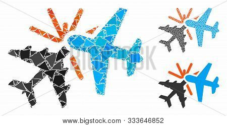 Airplane Collision Mosaic Of Humpy Pieces In Various Sizes And Shades, Based On Airplane Collision I
