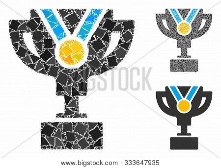 Award Cup Composition Of Uneven Elements In Variable Sizes And Shades, Based On Award Cup Icon. Vect