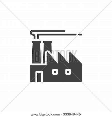 Industrial Factory Vector Icon. Filled Flat Sign For Mobile Concept And Web Design. Factory Building
