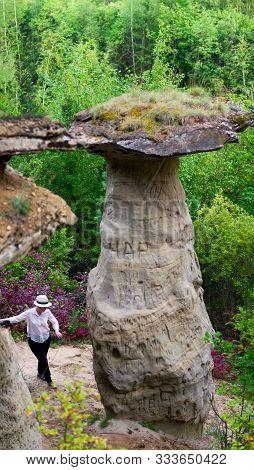 Girl Neatly Is Faring The Bottom Attractions Yakutia - Errozitsionnoy Forms Terrain Sandy Mushroom I