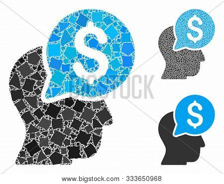 Businessman Think Composition Of Unequal Parts In Variable Sizes And Color Tinges, Based On Business