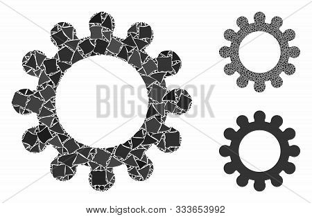 Cog Composition Of Unequal Items In Different Sizes And Color Tones, Based On Cog Icon. Vector Raggy