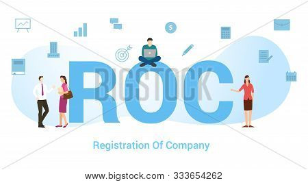 Roc Registration Of Company Concept With Big Word Or Text And Team People With Modern Flat Style - V