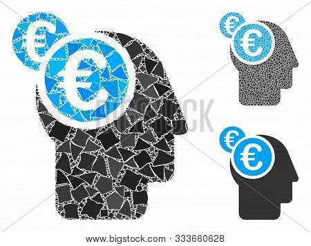 Euro Businessman Intellect Composition Of Raggy Pieces In Variable Sizes And Color Tints, Based On E