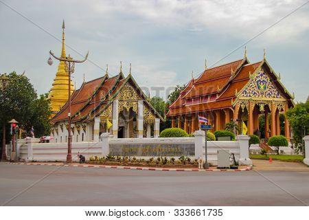 Nan,thailand - July 19,2016  :   Wat Phra That Chang Kham,nan,thailand