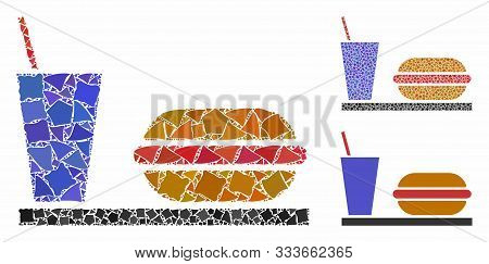 Fastfood Composition Of Trembly Items In Variable Sizes And Color Tints, Based On Fastfood Icon. Vec