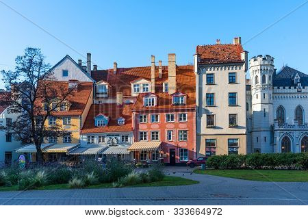 Riga, Latvia - October 28, 2019: Picturesque Aerial View Of The Livu Square With Beautiful Medieval