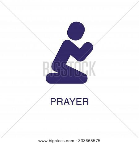 Prayer Element In Flat Simple Style On White Background. Prayer Icon, With Text Name Concept Templat