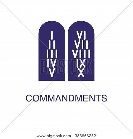 Commandments Element In Flat Simple Style On White Background. Commandments Icon, With Text Name Con