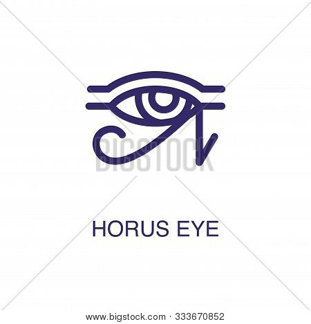 Horus Eye Element In Flat Simple Style On White Background. Horus Eye Icon, With Text Name Concept T