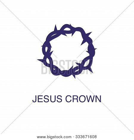 Jesus Crown Element In Flat Simple Style On White Background. Jesus Crown Icon, With Text Name Conce