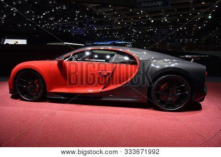Geneva, Switzerland, March 07-2018: Bugatti Chiron Sport At Gims