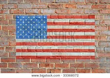 Painted American Flag on Brick Wall