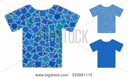 T-shirt Mosaic Of Trembly Elements In Variable Sizes And Color Tones, Based On T-shirt Icon. Vector