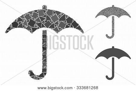 Umbrella Mosaic Of Unequal Items In Various Sizes And Color Tinges, Based On Umbrella Icon. Vector U