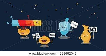 Greeting Banner For Jewish Holiday Hanukkah . Funny Characters With Traditional Icons Candle, Dreide