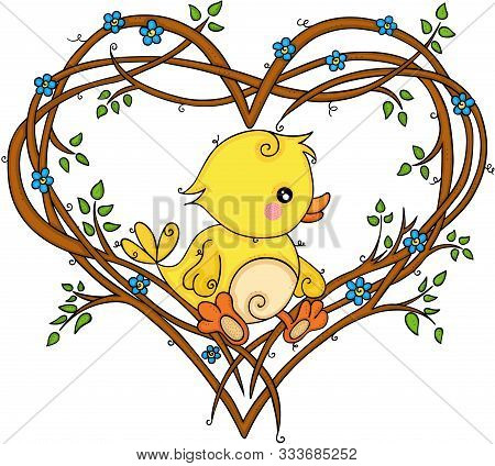 Scalable Vectorial Representing A Cute Yellow Bird On Heart Shaped Tree Branches, Element For Design