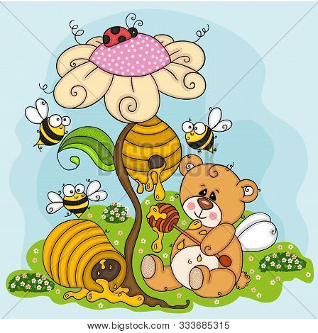 Scalable Vectorial Representing A Greedy Teddy Bear Eating Honey, Colored Vector Hand Drawn Illustra