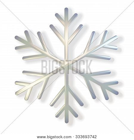 Glitter Covered Holographic Pearl Snowflake. Realistic 3d Illustration Of Shimmering Metallic Snowfl