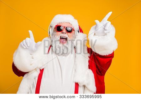 Close Up Photo Of Funky Funny Fat Crazy Santa Claus Celebrate X-mas Party Wear Headset Sing Listen M