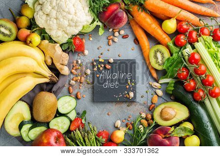 Balanced Nutrition Concept For Clean Eating Alkaline Diet. Assortment Of Healthy Food Ingredients Fo