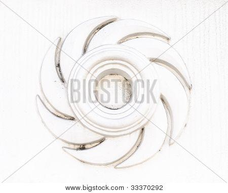 White Rowel Sculpture