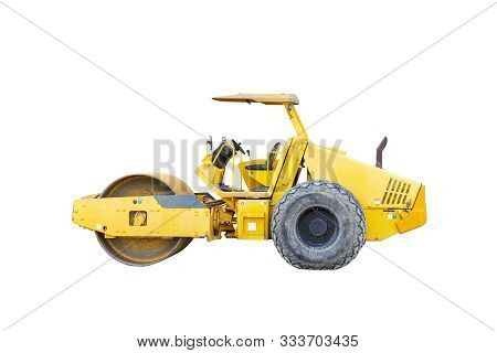 Motor Vehicle Or Heavy Roller Or Steamroller For Road Making Or Street - Highway Construction Isolat