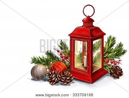 Red Vintage Lantern With A Burning Candle With Christmas Toys, Decorative Christmas Ornament, Art Il