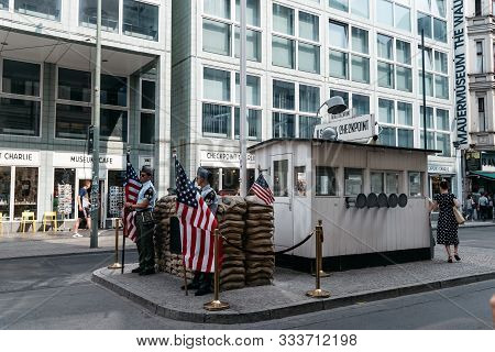 Berlin, Germany - July 29, 2019: Checkpoint Charlie. It Was The Name Given By The Western Allies To