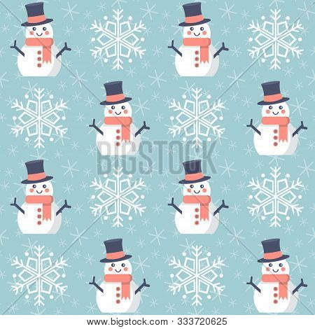 Christmas Pattern. Seamless Vector Illustration With Snowmen And Snowflakes