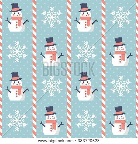 Christmas Pattern. Seamless Vector Illustration With Snowmen, Snowflakes And Candy Canes