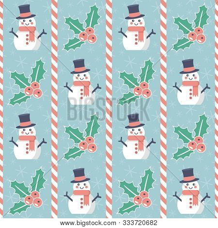 Christmas Pattern. Seamless Vector Illustration With Snowmen, Candy Canes And Mistletoe