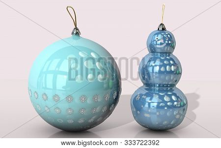 3d Illustration Of Christmas Tree Round Toy And Snow Man With Snow Flakes Design Close Up