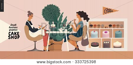 Cake Shop, Cakes On Demand - Small Business Graphics - Baker And Customer -modern Flat Vector Concep