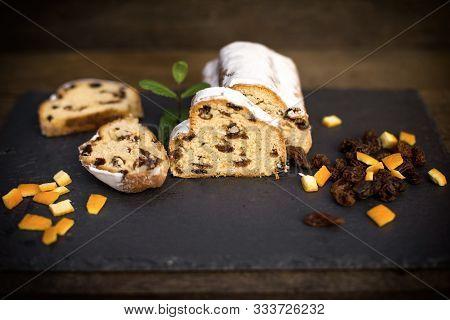 Fruit Cake (fruitcake) On Table Closeup, Cake On Stone Plate