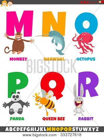 Cartoon Illustration Of Colorful Alphabet Set From Letter M To R With Animal Characters